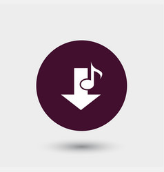 Music note download icon simple vector