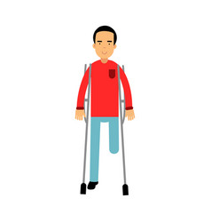 one legged disabled man with crutches colorful vector image vector image