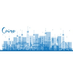 Outline cairo skyline with blue buildings vector