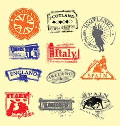 Passport travel stamps vector