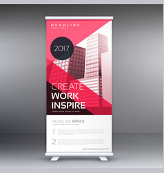 Pink roll up banner flye standee design for your vector