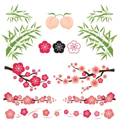 Plum blossom and bamboo ornament vector