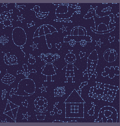 Seamless pattern night sky for baby vector
