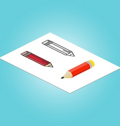 Set of Isometric pencil flat pencil and thin line vector image vector image