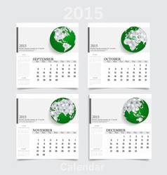 Simple 2015 year calendar September October vector image vector image