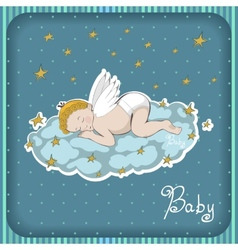 Sleeping angel on the cloud vector