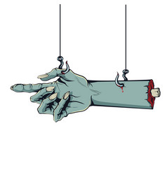style of a comic zombie hand hanging on hooks vector image vector image