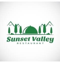 Sunset or Sunrise Valley Abstract Logo Template vector image vector image