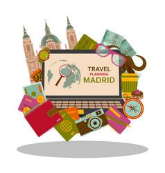 Travel planning to madrid flat concept vector