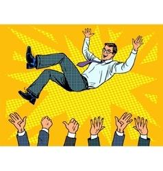 Triumph business success businessman winner vector image vector image