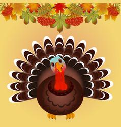 turkey bird for happy thanksgiving celebration vector image vector image