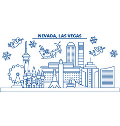 Usa nevada las vegas winter city skyline merry vector