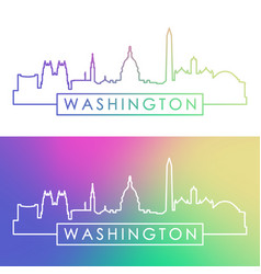 washington skyline colorful linear style vector image