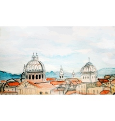 Watercolor panorama of rome vector