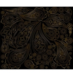 Black gold indian pattern  ornament arabic vector