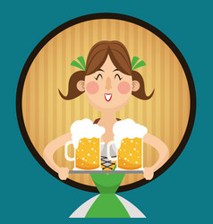 Woman cartoon oktoberfest design vector