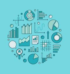 Blue data analytics circular vector