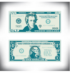 Two us bills greatly simplified and stylized vector