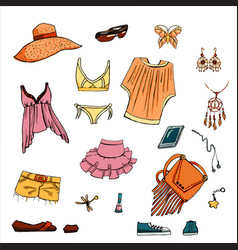 Summer look in sketch hand-drawing style vector