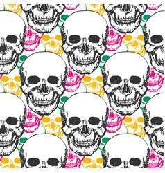 beauty skulls pattern hand drawn seamless vector image
