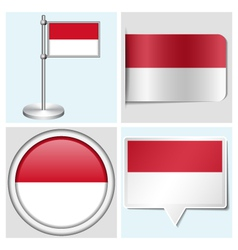Indonesia flag - sticker button label flagstaff vector image