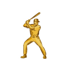 Baseball batter batting bat etching vector