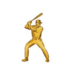 Baseball batter batting bat etching vector