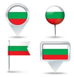 Map pins with flag of bulgaria vector