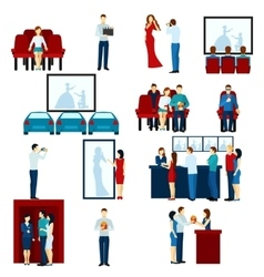 Cinema movie theater flat icons set vector
