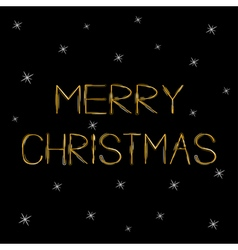 Merry christmas gold text greeting card sprkles vector