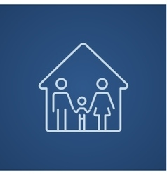 Family house line icon vector