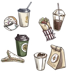 Selection of takeaway snacks vector