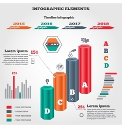 Infographics elements set prismatic columns vector