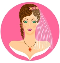 Young bride portret with green-eyed brunette vector