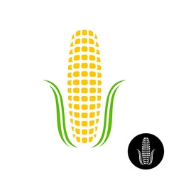 Corn logo simple corn with grains and leaves vector