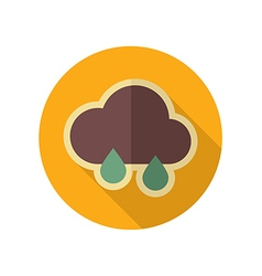 Rain cloud retro flat icon meteorology weather vector
