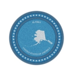 Label with map of alaska denim style vector