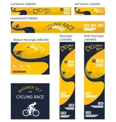 Bicycle race event different size banner set vector
