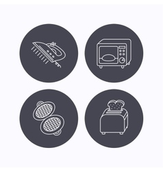 Microwave oven waffle-iron and toaster icons vector