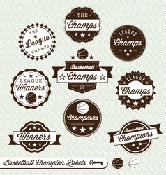 Basketball champs labels vector