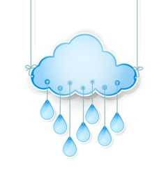 Blue cloud with drops vector