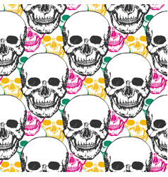 Beauty skulls pattern hand drawn seamless vector
