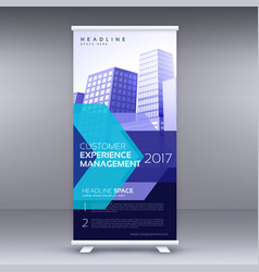 blue business roll up banner design with vector image