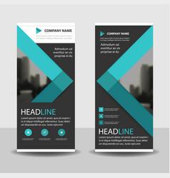 Blue roll up business brochure flyer banner vector