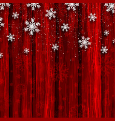 christmas snowflakes on red wood background vector image vector image