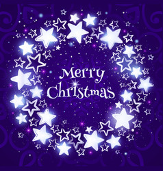 Christmas wreath on purple background circle vector