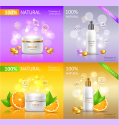 cream natural series banners set cosmetic tubes vector image