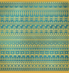 Ethnic golden pattern on teal grunge background vector