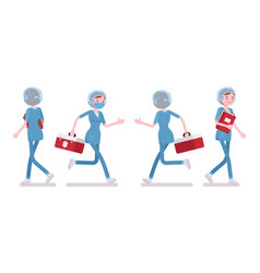 Female nurse walking and running vector