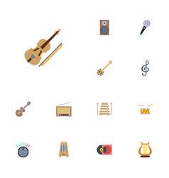 flat icons banjo knob musical instrument and vector image vector image